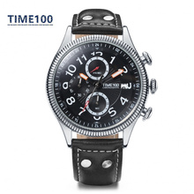 Top Men's Brand Watches Black Leather Strap Quartz Watch Original Calendar Auto Date Business Casual Wrist Watches W031