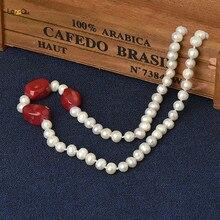 3fe253d7b269 100% de agua dulce verdadera cultura 7-8mm de perlas con Coral rojo  colgante 20 pulgadas collar de moda para un buen las mujeres.