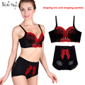 New 2016 Fashion 3/4 Cup Functional Shaping Bra Set Push UP Embroidery Lace Bra Brief Sets Shaping Underwear Bra And Panty Set