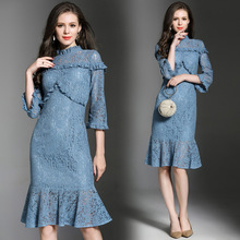 2017 Women Bodycon Dress Blue Lace Trumpet Mermaid Dresses 2017 Spring Autumn New Style Brand Clothing vestidos de festa A-Line