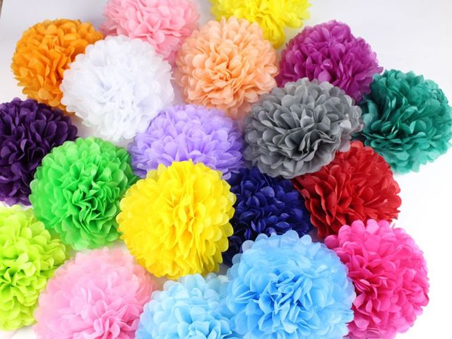"30pcs 4"" 6"" 8""(10cm 15cm 20cm) Tissue Paper Pompoms Mix Color Flower Balls Wedding Pom Poms Wedding supplies Decoration"