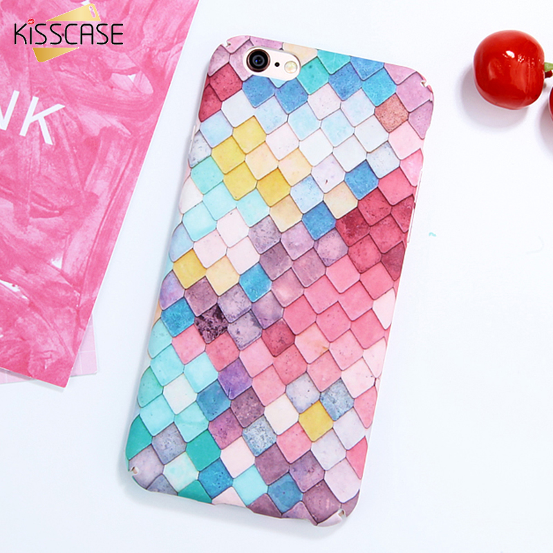 KISSCASE For iPhone 7 6 Case Fashion Colorful 3D Scales Phone Cases For iPhone 7 8
