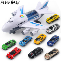 Febio Baby Newest Music Story Simulation Track Inertia Children's Toy Aircraft Simulation Passenger Plane Boy Baby Music Toy Car