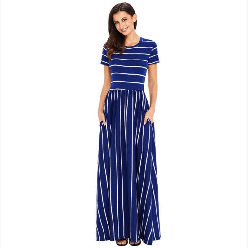 Fashion Women Maxi Dress Classic Striped Round Neck Short Sleeve Pocket Casual Lady A-Line high Waist Long Dress Beach Dresses