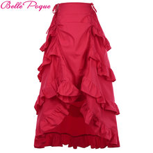 adb9bc94f0 Belle Poque 2018 Gothic Skirt Women Slim Red Brown Black Cotton High-Low  Asymmetric Ruffle