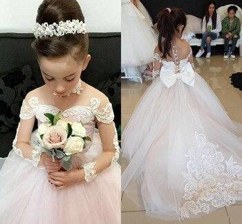2019 Hot Sale Princess Dress With Full Sleeves Bow Sheer Back Tulle Flower Girl Dress For Wedding Girls Evening Dress Customized