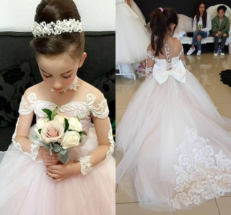 2019 Hot Sale Princess   Dress   With Full Sleeves Bow Sheer Back Tulle   Flower     Girl     Dress   For Wedding   Girls   Evening   Dress   Customized