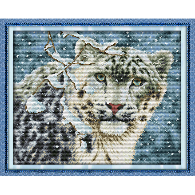 Everlasting love Christmas Snow leopard Chinese cross stitch kits Ecological cotton stamped 11CT 14CT New store sales promotion