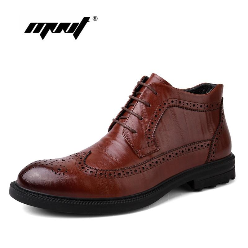 Genuine Leather Men Boots Autumn Winter Boots Handmade Warm Men Ankle Boots Plush Warm Winter Shoes