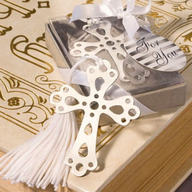 (100pcs/lot)FREE SHIPPING+Church Wedding Favors Silver Hollow Out Cross Bookmark Religious Party Giveaway Gift For Guest