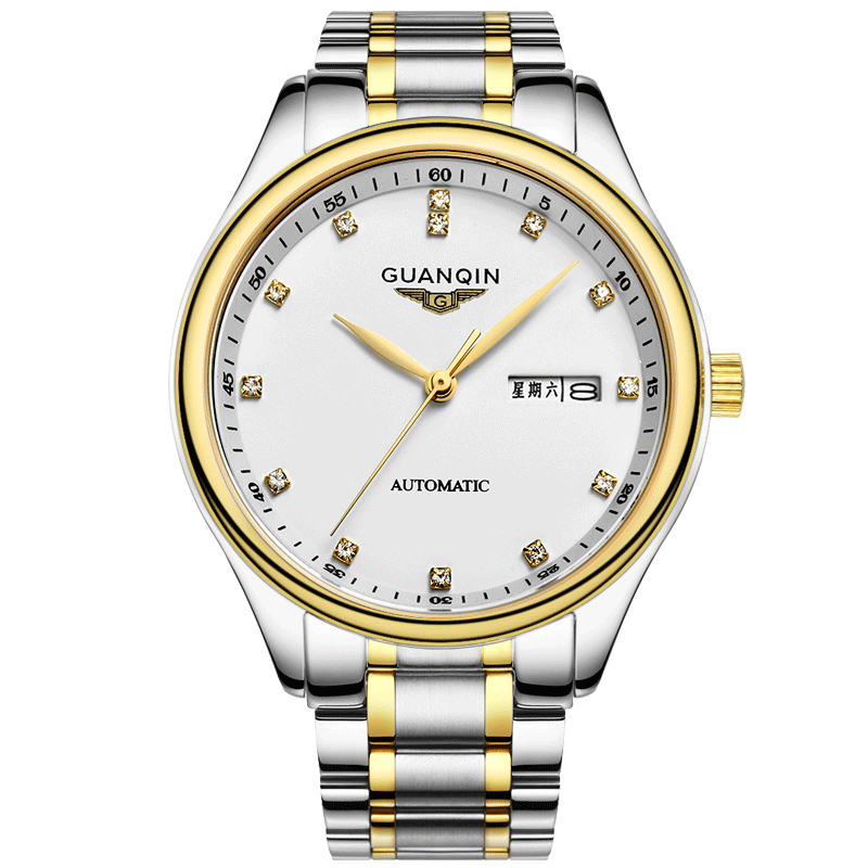 все цены на GUANQIN GQ80009 watches men luxury brand automatic mechanical watch Double calendar steel waterproof watch business men's watch онлайн