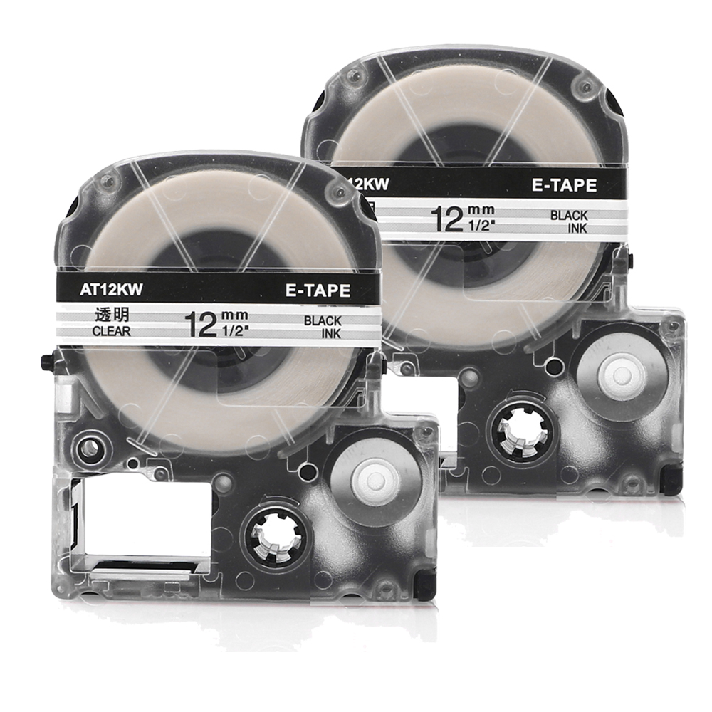 2PCS ST12K Label 12mm Cassette Refills Compatible Epson LabelWorks LC-4WBN9 for LW-300 LW-400 LW-500 LW-600P LW-700 Clear lowell lw 14819