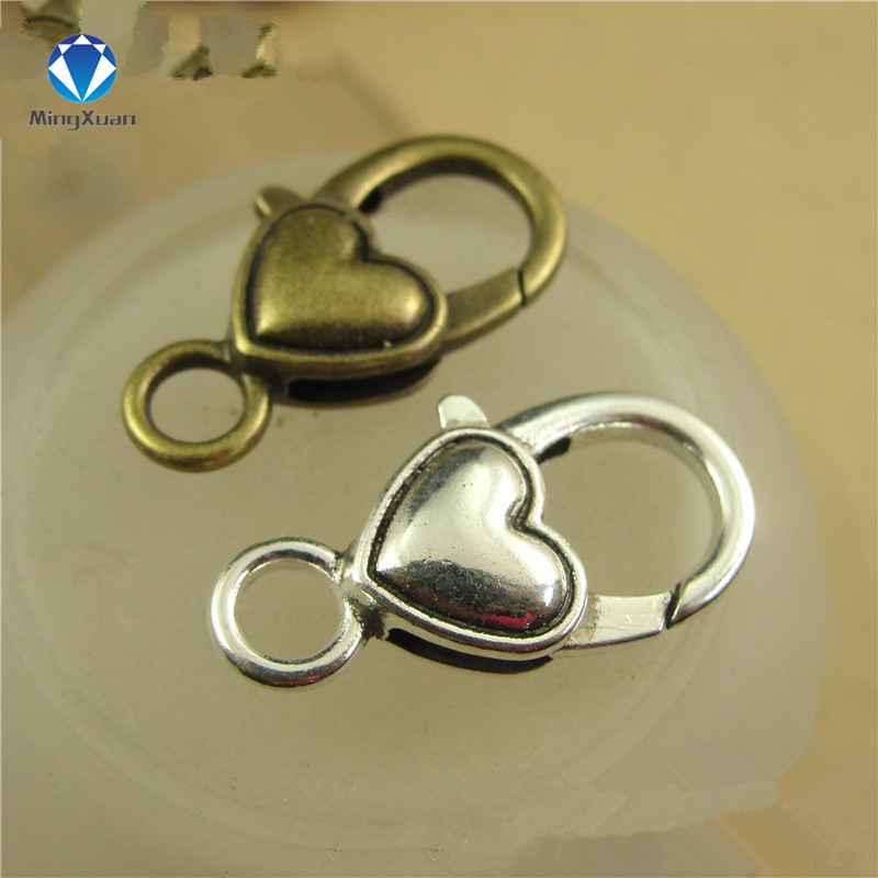 10pcs/lot Antique Silver Heart Lobster Clasp Hooks For Necklace Bracelet Chain DIY Jewelry Accessory Findings 27*14MM