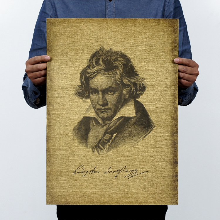 2 piece TOP COOL -Vintage retro  Ludwig van Beethoven  poster art- HOME bar coffee house wall TOP Decor ART painting