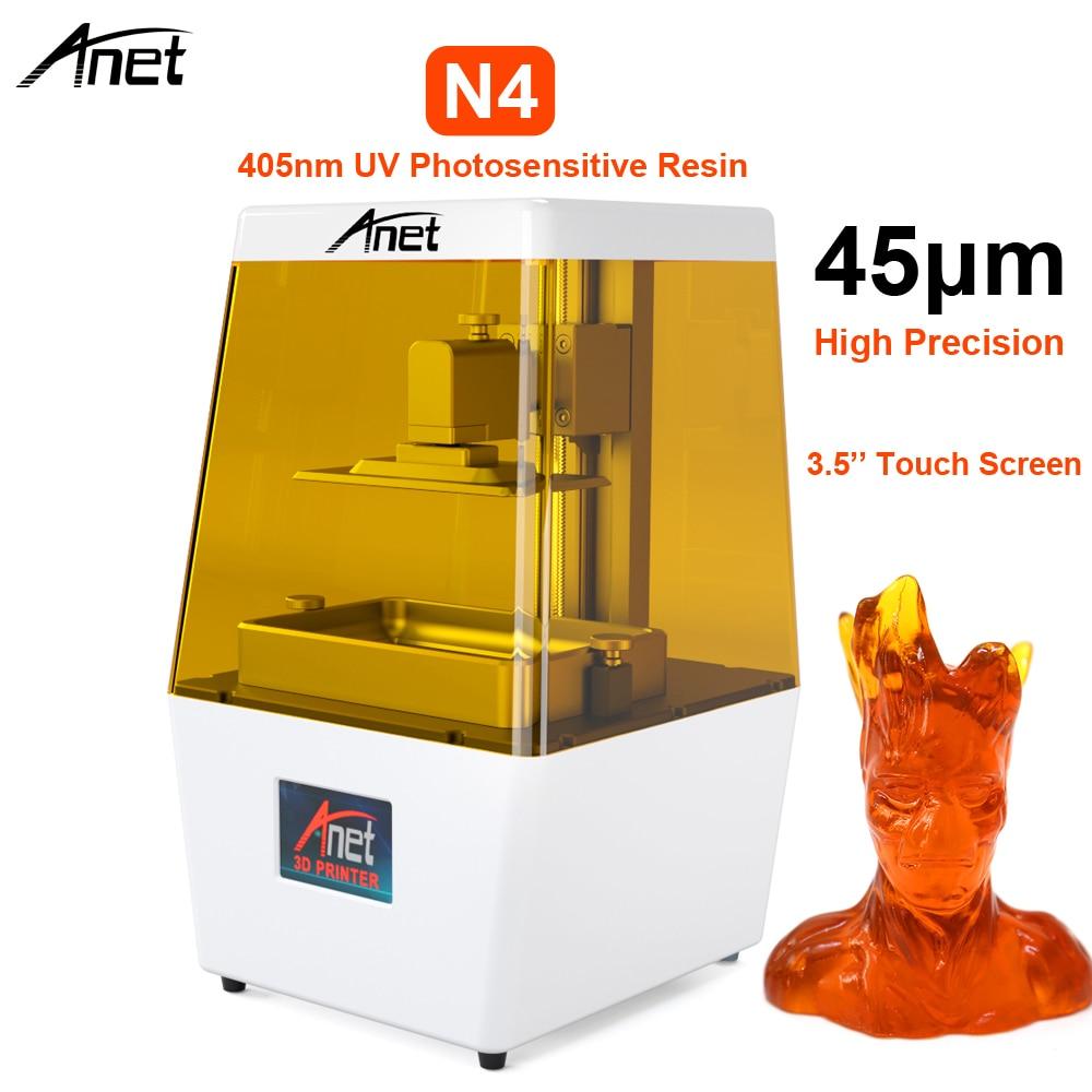 Nouveau 3.5 ''LCD écran tactile Anet N4 405nm résine photosensible UV DLP 3D imprimante souper haute précision USB impression hors ligne