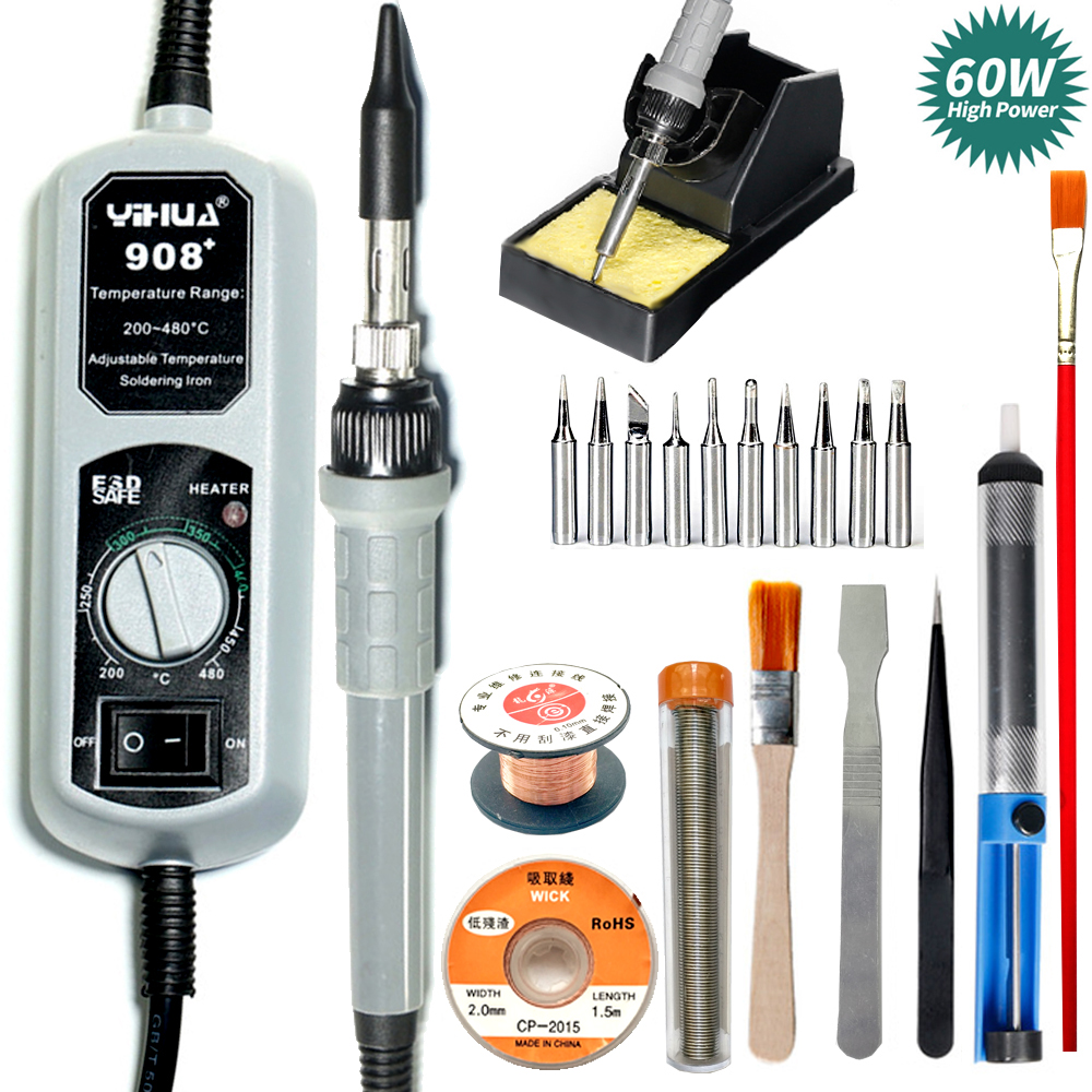 YH Soldering Iron Adjustable Temperature Electric Iron High-Power Aluminum Strong Suction Tin Soldering Gun Welding Tool Set 60W