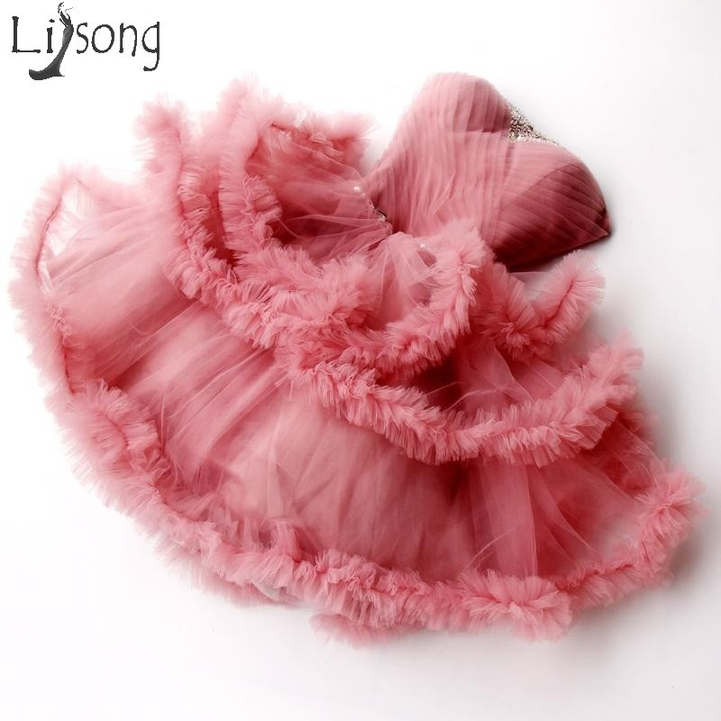 Pretty Coral Pink Tiered Short  Tutu Cocktail Dresses Sweetheart Ruffles Mini Formal Party Dress Shiny Crystal Prom Gowns