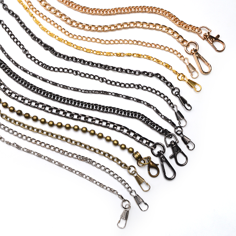 120cm Handbag Metal Chains For Bag DIY Purse Chain With Buckles Shoulder Bags Straps Handbag Handles Bag Parts & Accessories