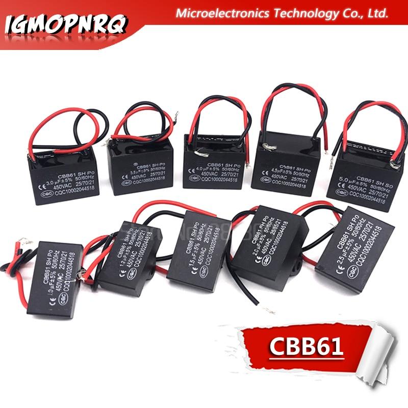 CBB61 1UF 1.2UF 1.5UF 2UF 2.5UF 3UF 3.5UF 4UF 4.5UF Starting Capacitance AC Fan Capacitor Igmopnrq 450V CBB Motor Run Capacitor