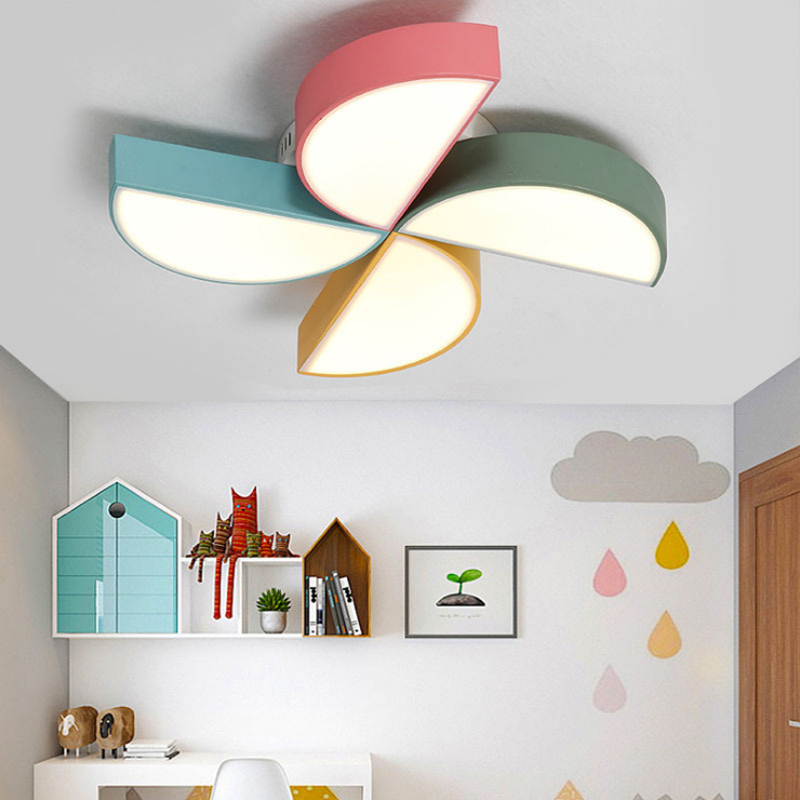 Modern minimalist wrought iron paint acrylic color ceiling lamp childrens room decoration LED windmill design dimmable lightingModern minimalist wrought iron paint acrylic color ceiling lamp childrens room decoration LED windmill design dimmable lighting