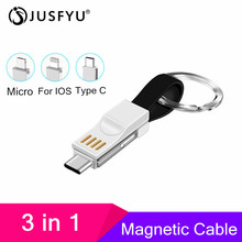 3 in 1 USB Cable Micro Type C For iPhone X Samsung Xiaomi Pocophone F1 Mini Keychain Charger Charging Cables Adapter