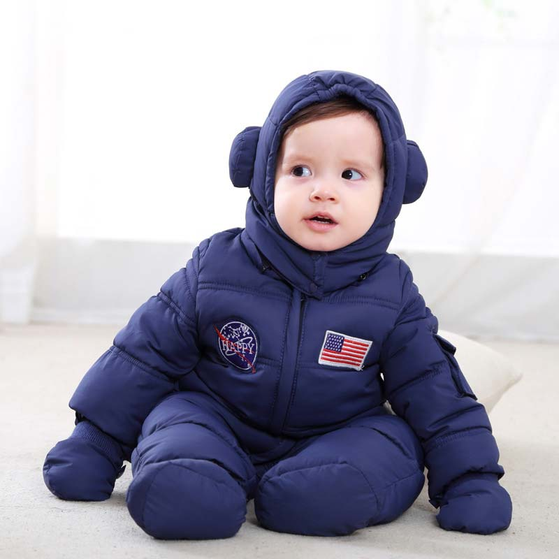 все цены на Baby Girl Winter Clothes Overall for Newborn Baby Boy Down Cotton Inside Vest Warm Romper Toddler Hooded Jumpsuit Lids Costume онлайн