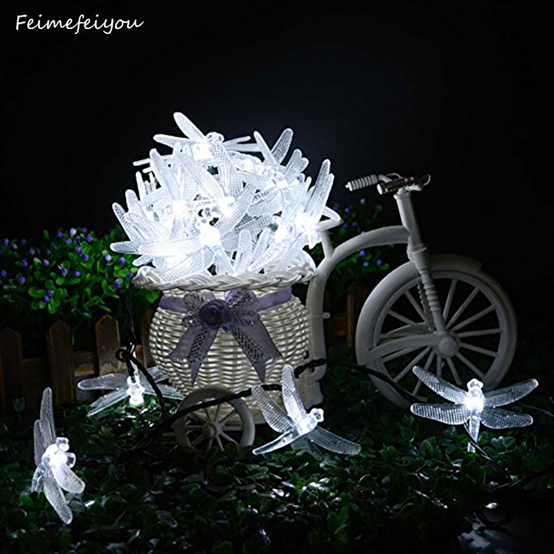 Dragonfly Solar String Lights 20 LED Lighty Fairy Lighting untuk Dalaman / Outdoor Garden Patio Hiasan Holiday Parti Perkahwinan