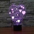 Novo Estilo 3D Ilusão Lâmpada LED Eu Te Amo Da Noite Acrílico Descoloração luz Visão Estéreo Lâmpada Romântico com a Linha do USB Para Presentes