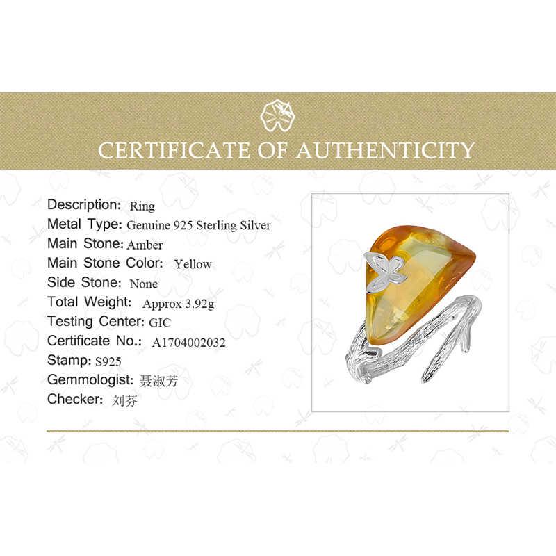 Lotus Menyenangkan Nyata 925 Sterling Silver Natural Amber Buatan Tangan Desainer Perhiasan Melihat Ke Belakang Butterfly Cincin untuk Wanita Bijoux