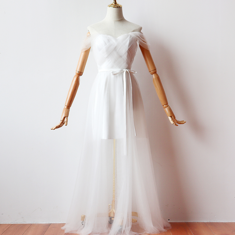 White Long Dress Short Inner Lining Bridesmaid Dresses Woman for Party and Wedding