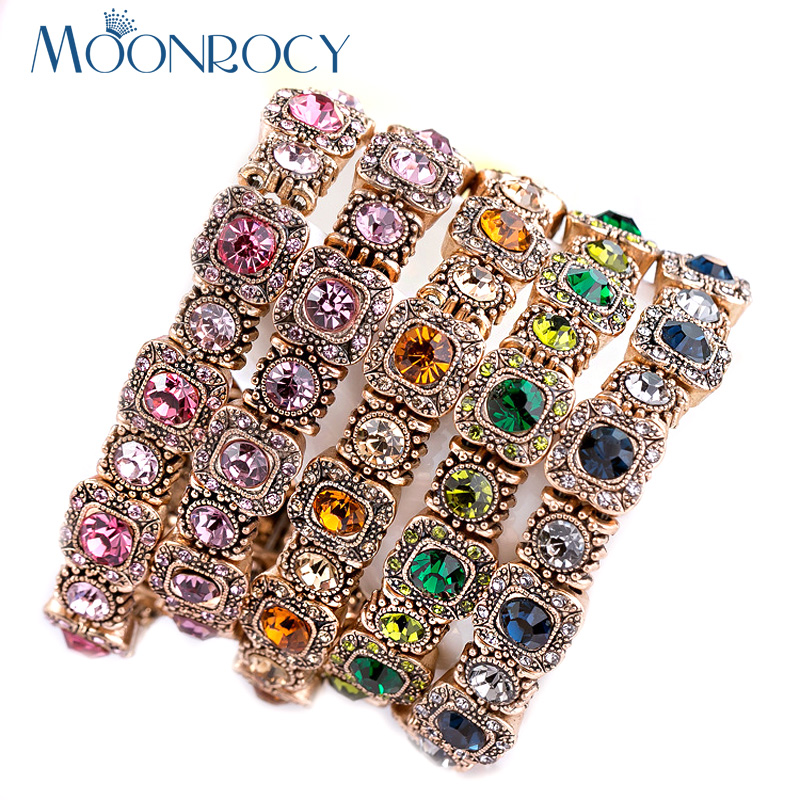 MOONROCY Free Shipping Fashion Wholesale Jewelry Crystal Elastic Bracelet Green Blue Pink Bracelet for Girls Women Gift Bangle women s fashion crystal studded elastic bracelet golden purple
