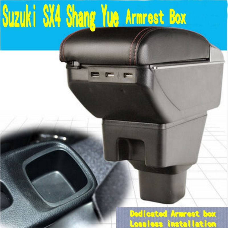 For Suzuki SX4 armrest box central Store content box with cup holder ashtray decoration products accessories With USB interface