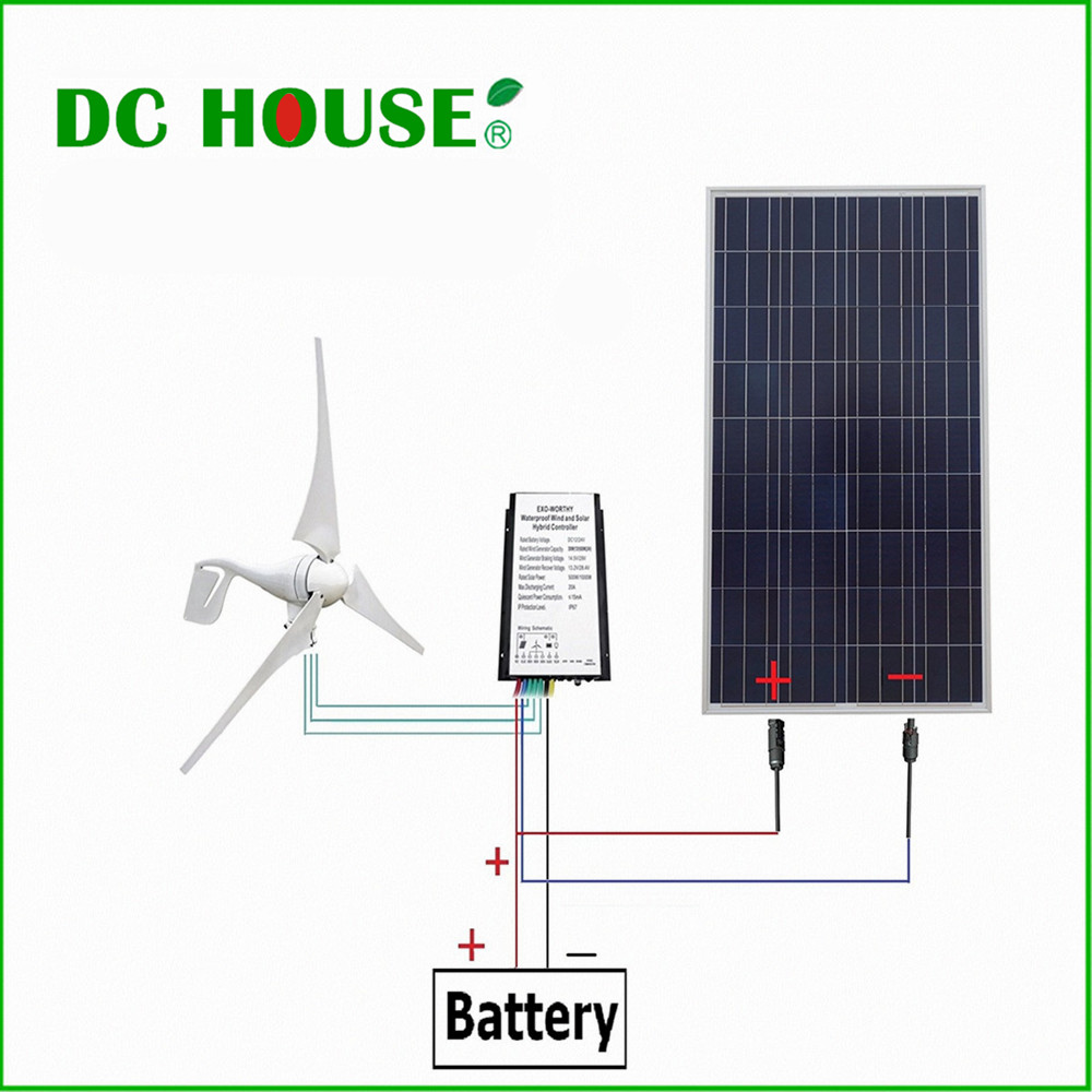 DC HOUSE USA UK Stock 12V Wind Solar Hybrid Kit 400W Wind Turbine Generator 150W Poly Solar Panel new uk stock 40w 12v poly solar panel poly solar module high quality free shipping