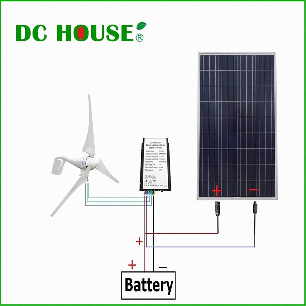 DC HOUSE USA UK Stock 12V Wind Solar Hybrid Kit 400W Wind Turbine Generator 160W Poly Solar Panel dc house usa uk stock 880w hybrid kit 400w wind turbine generator