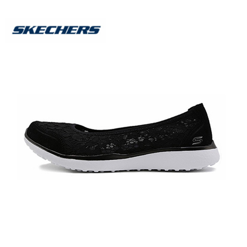 <font><b>Skechers</b></font> <font><b>Women</b></font> Shoes Flat Comfortable Breathable Hollow Casual Shoes Slip on ballet flats ballerines woman Loafers 23581-BKW image