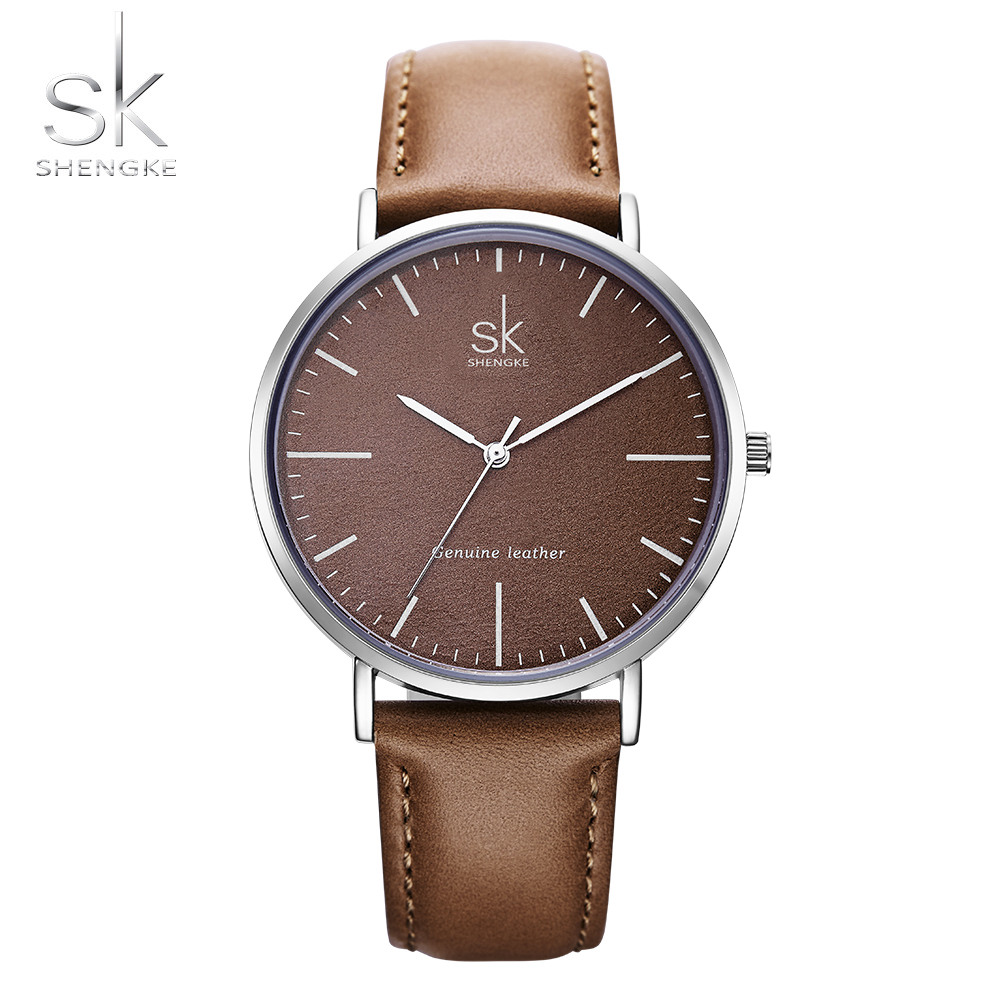 Shengke Luxury Brand Women Watches Genuine Leather Quartz Watch Fashion Casual Simple Ladies Watch Women Clock Relogio Feminino longbo brand genuine leather lovers quartz watch simple style women men casual watch waterproof relogio masculine feminino clock