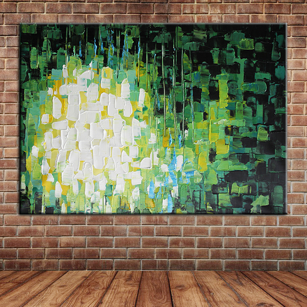 Modern knife painted abstract green oil painting canvas for Canvas mural painting