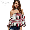 Young17 2017 Spring Women Blouse Geometric Printed Slash Neck Shirts Female Halter Neck Off the Shoulder Flare Sleeve Top Female