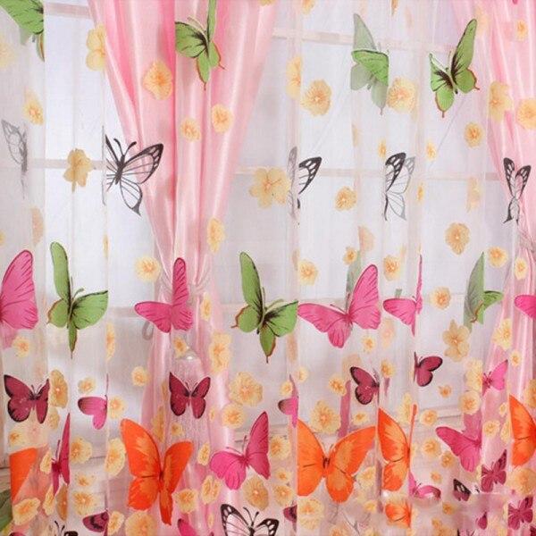 200 см x 100 см моющиеся Sheer Вуаль Шторы с принтом бабочки Панель окна драпировка перегородкой