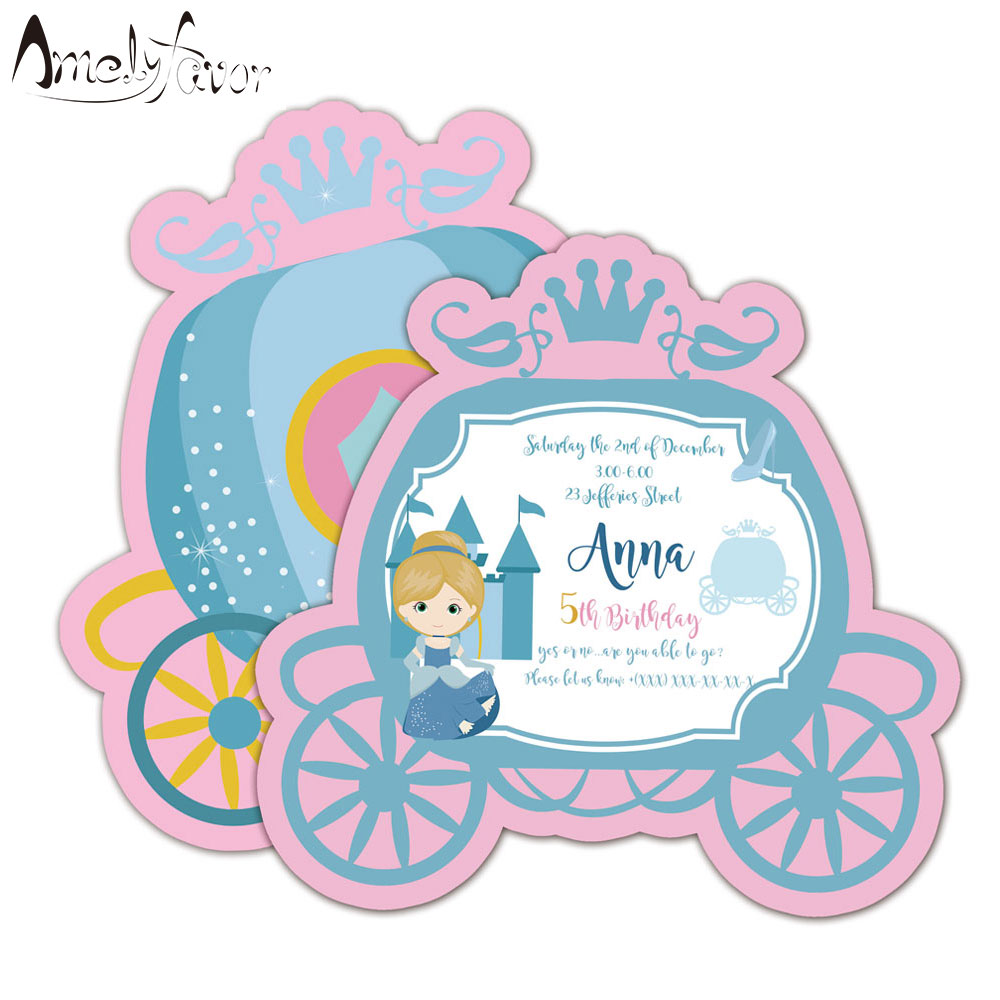 Us 6 65 26 Off Princess Invitations Card Birthday Party Supplies Princess Carriage Party Decorations Kids Event Birthday Invitation In Cards
