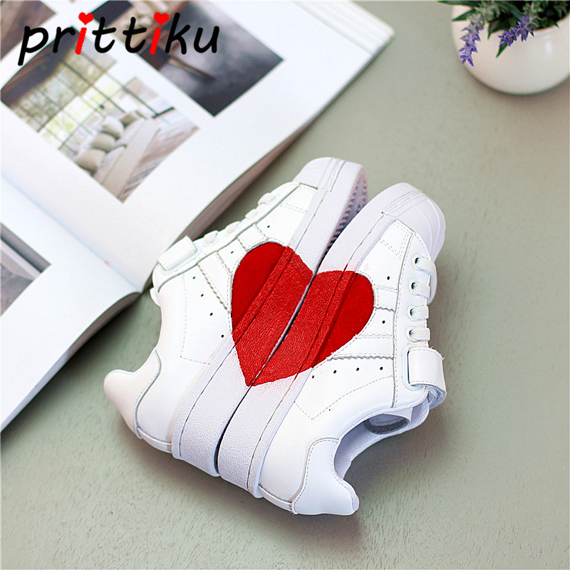 Spring 2018 Baby Toddler Boy Girl Genuine Leather Red Heart Sneakers Little Kid Fashion Trainers Big Children School Sport Shoes teva orginal universal kids sport sandal toddler little kid big kid
