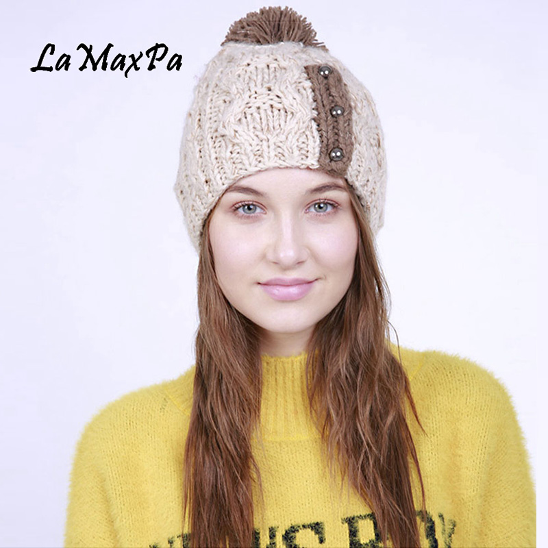 2018 Newest Fashion Acrylic Women Hat Women's Spring Kintted Hats Warm   Skullies     Beanies   With Pompom For Female Pop Cap
