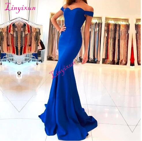 Royal Blue Satin Mermaid Long   Prom     Dresses   Elegant Off The Shoulder Bow Sash Simple Sweep Train Formal Party Evening Gowns