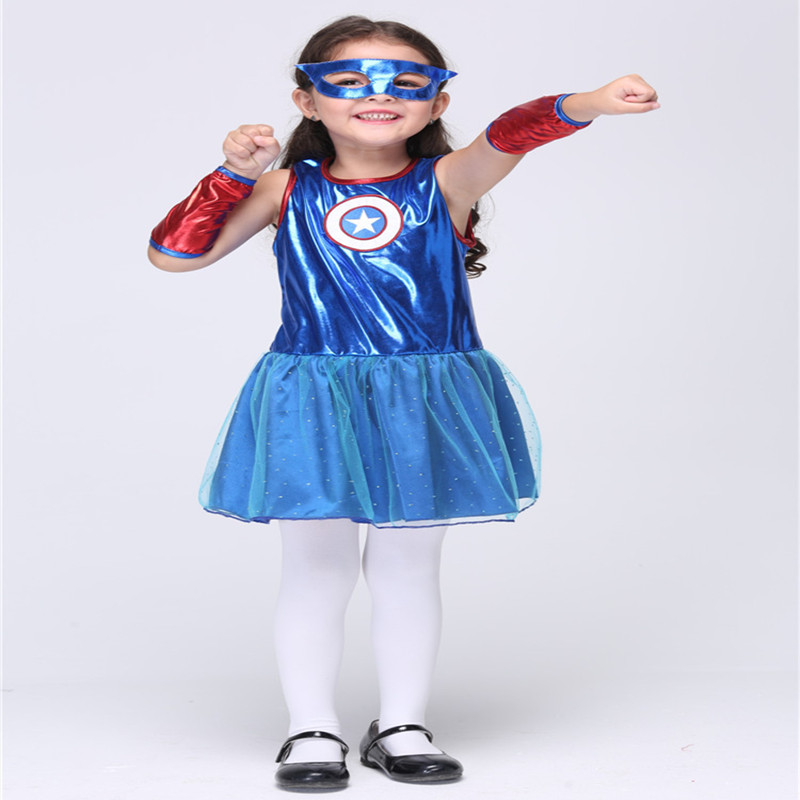 New Arrival Halloween Costumes For Kids Girls Captain America Costumes Children Superwoman Anime Cosplay Party Dress QZ003