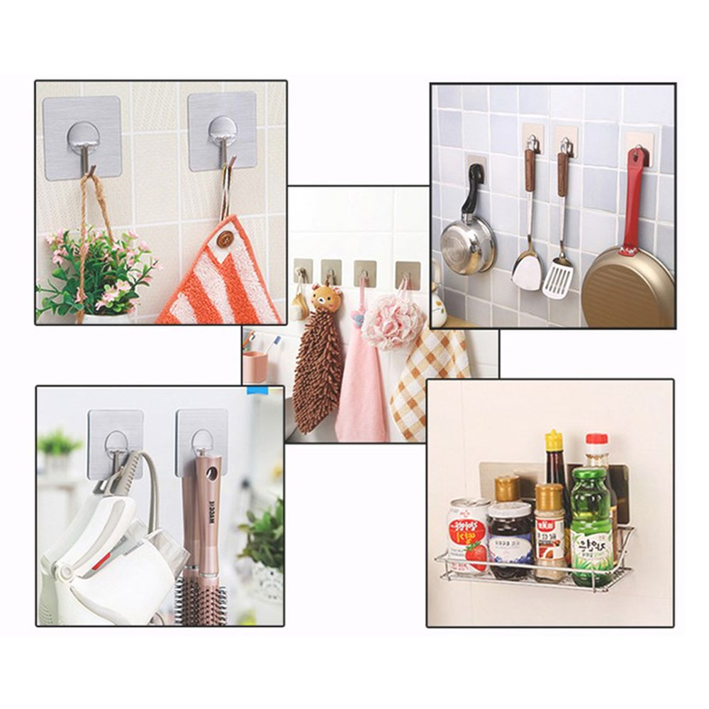Stainless Steel Bathroom Shelves Kitchen Organizer Adhesive Hooks ...