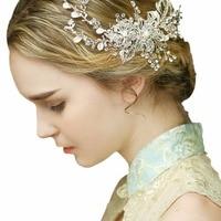 Свадебный гребень заколка для волос Серебряные Листья диадемы свадебные аксессуары для волос свадебный головной убор ручной работы, украш...