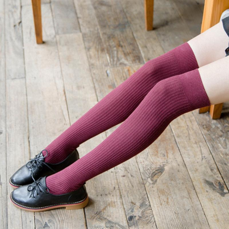1 Pair Women Girl Over Knee High Socks Spring Autumn Winter Warm Knit Soft Thigh High Long Socks Solid Color Loose Socks #0123