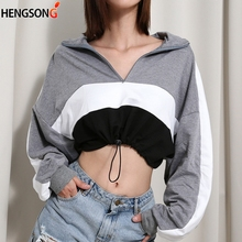 long-sleeved Pullovers Hoodies Deep V Neck Top Drawstring Loose Cropped Patchwor