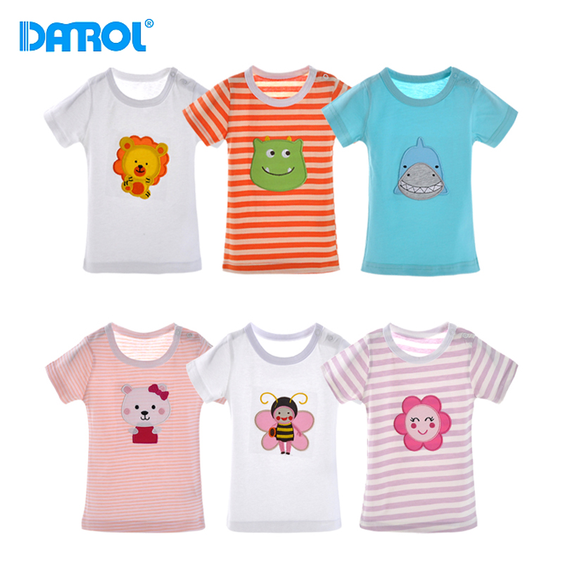 6M-24M 5Pcs/lot Cotton Baby Top Tees T-Shirts O-Neck Short Sleeve Baby Tops Clothes Carton Print Kids Boy Girl Clothes DR0146