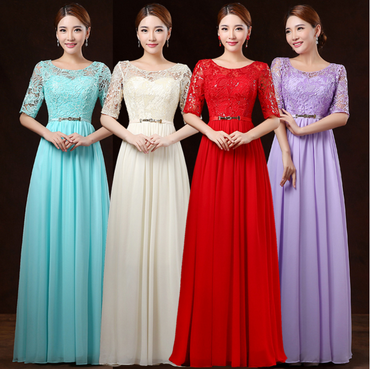 All Red Champagne Lavender Bridesmaid Lace Long Floor Length Gown Women Formal Dresses Half Sleeve For Wedding Party